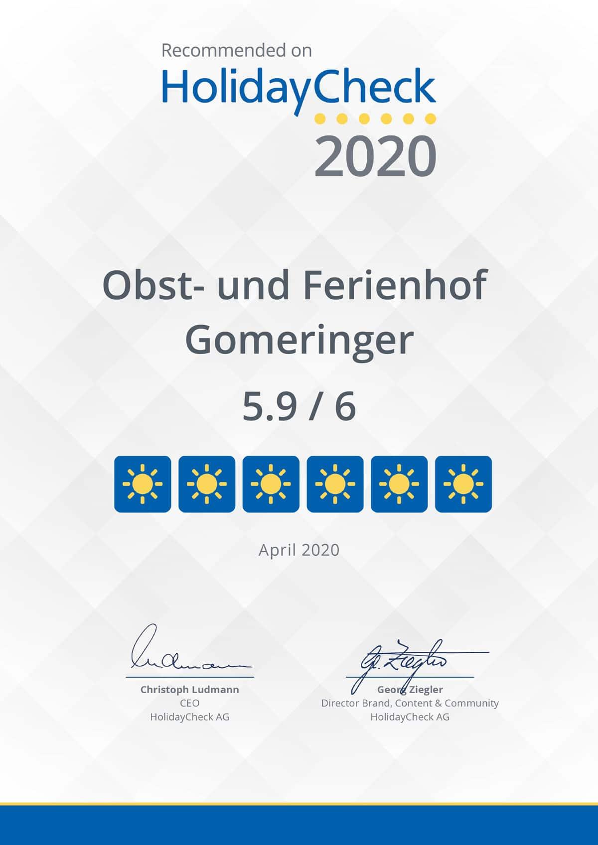 ferienhof-gomeringer-holidaycheck-urkunde-2020